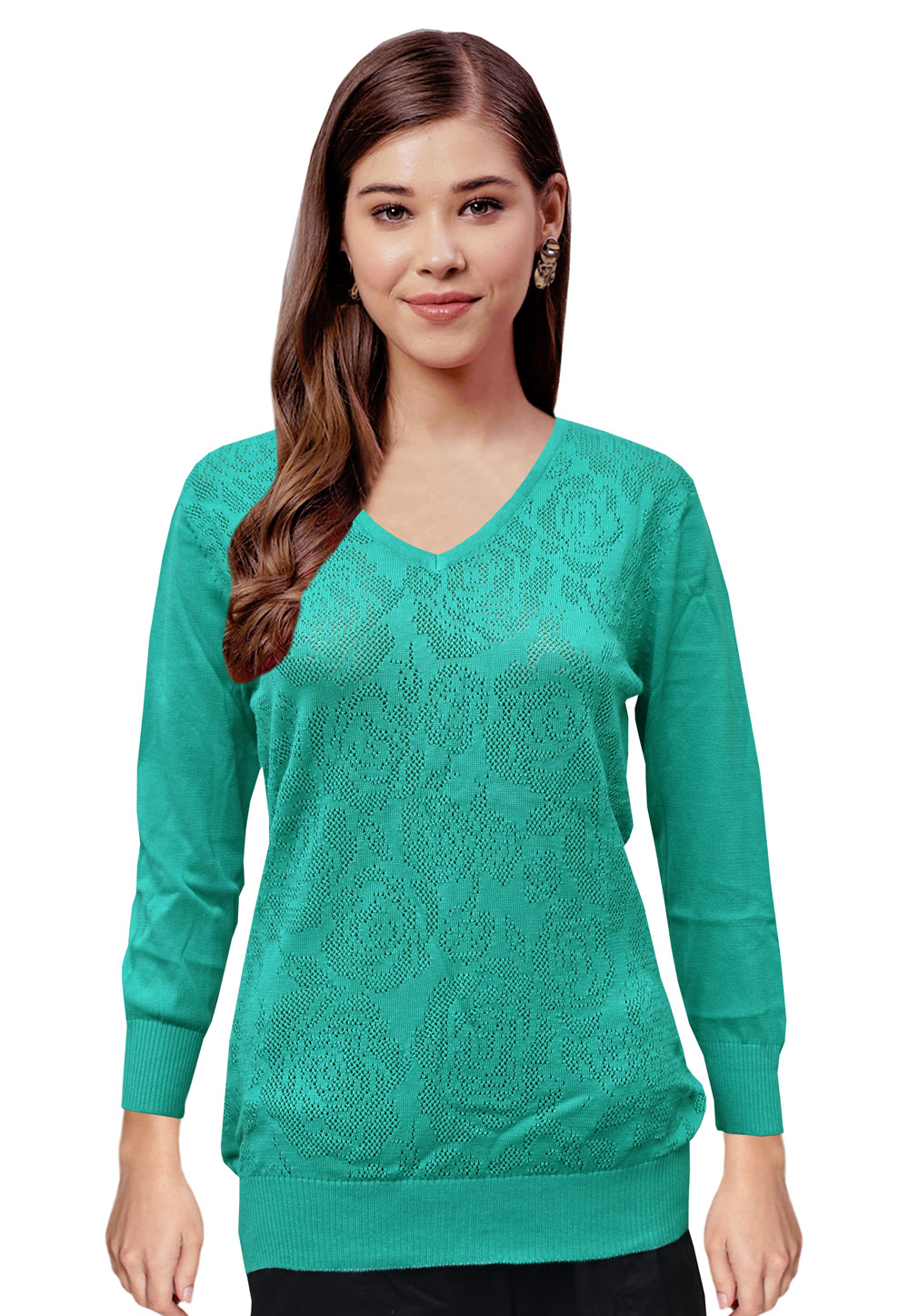 Turquoise Woolen Knitted Sweater Tops 214255