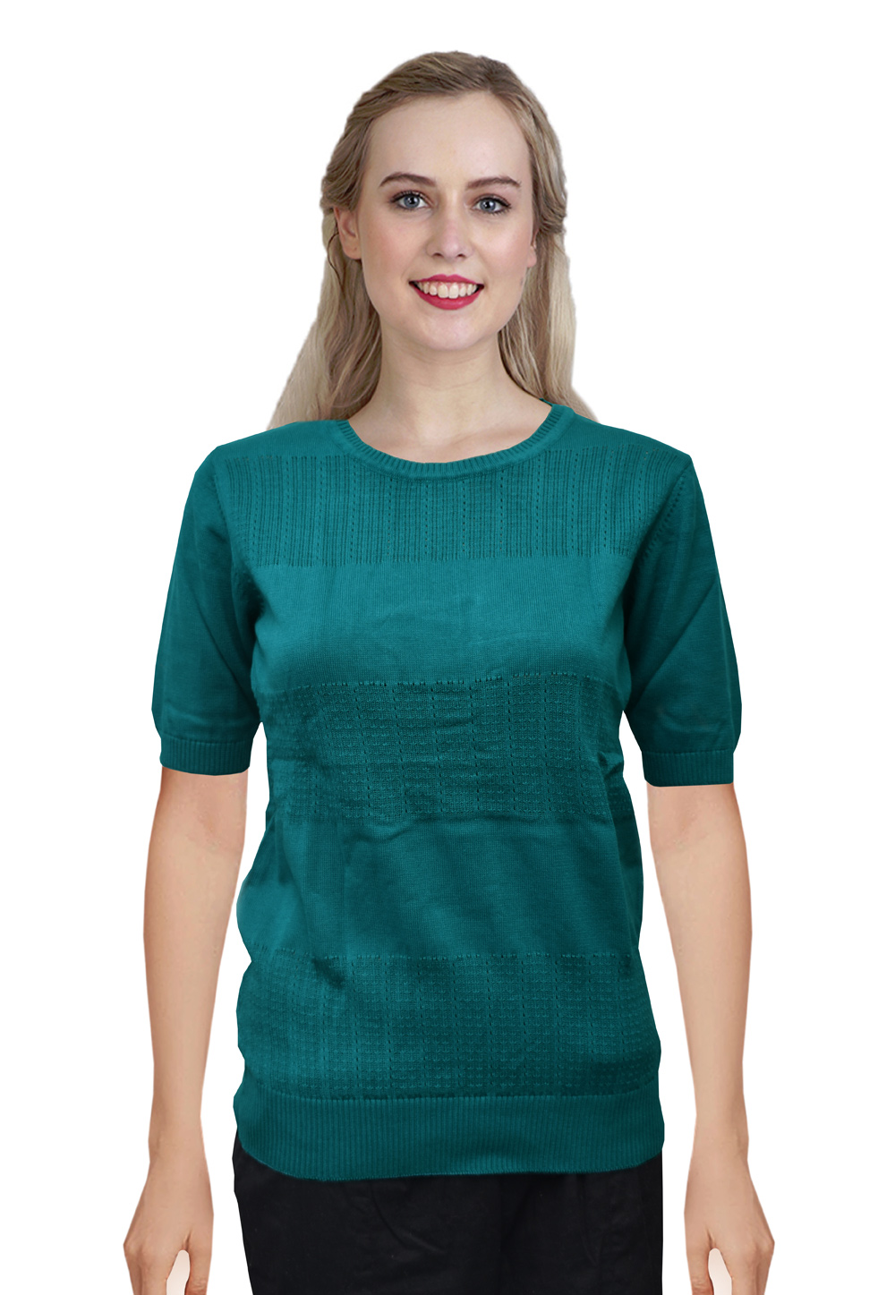 Teal Knitted Sweater Tops 214257