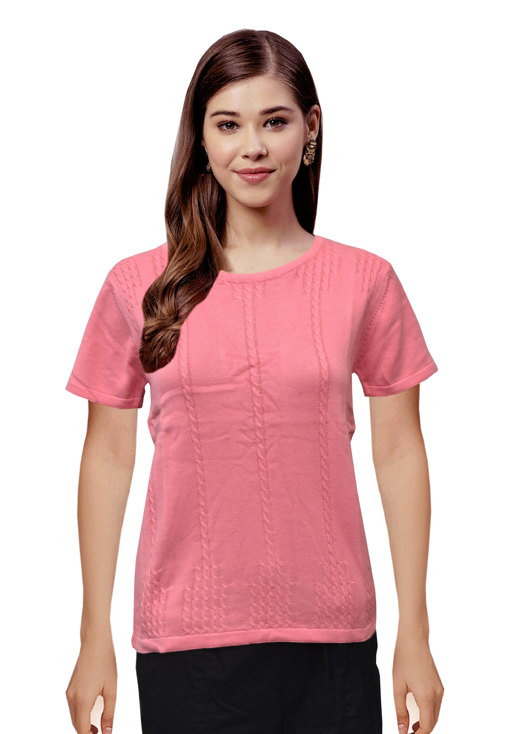 Pink Woolen Knitted Sweater Tops 214258