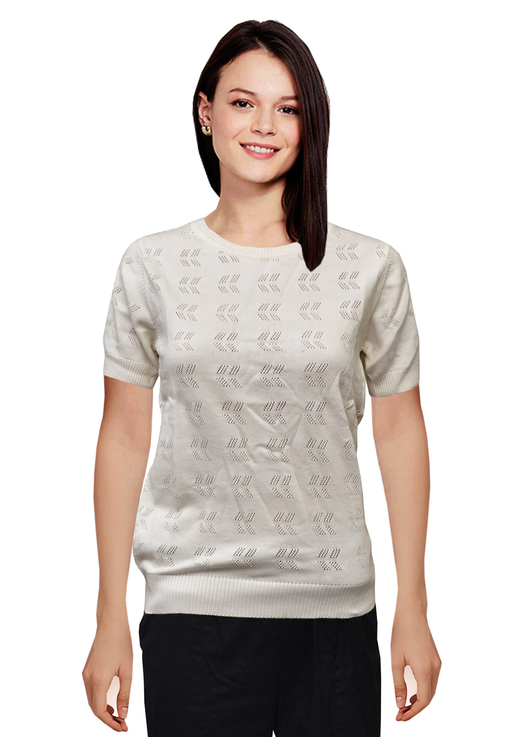 Off White Woolen Knitted Tops 214259