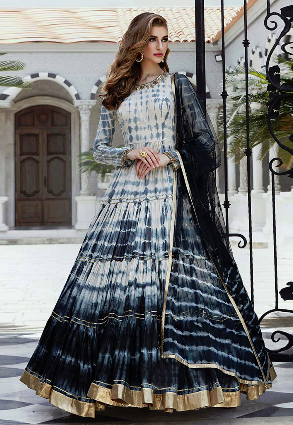Off White Cotton Silk Readymade Long Anarkali Suit 200889