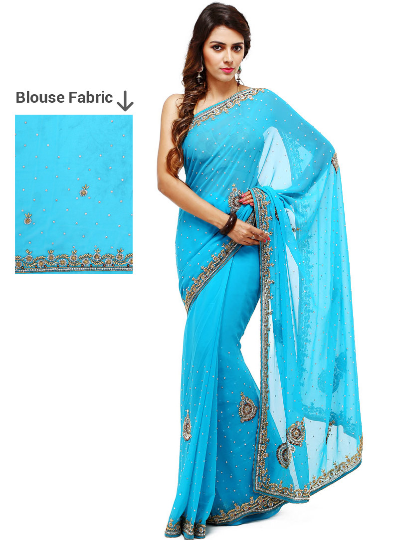 Sky Blue Georgette Stone Work Saree 88875
