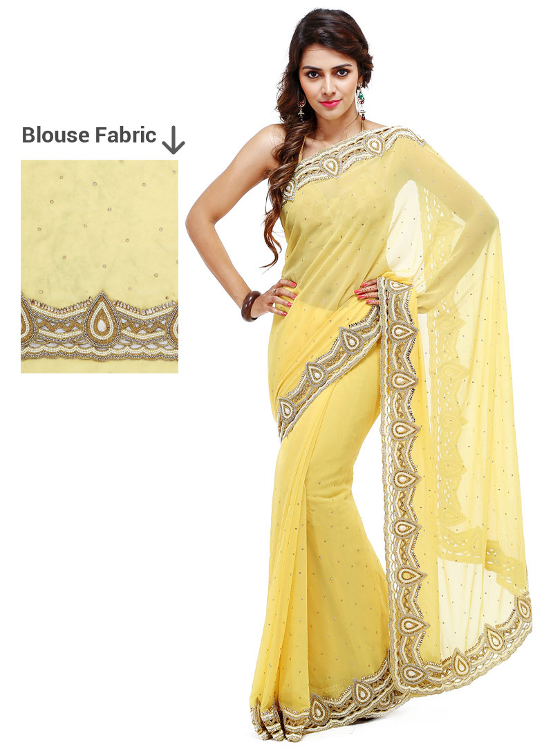 Light Yellow Georgette Stone Work Saree 88876