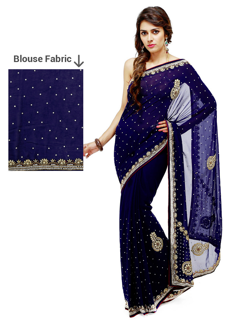 Navy Blue Georgette Stone Work Saree 88878