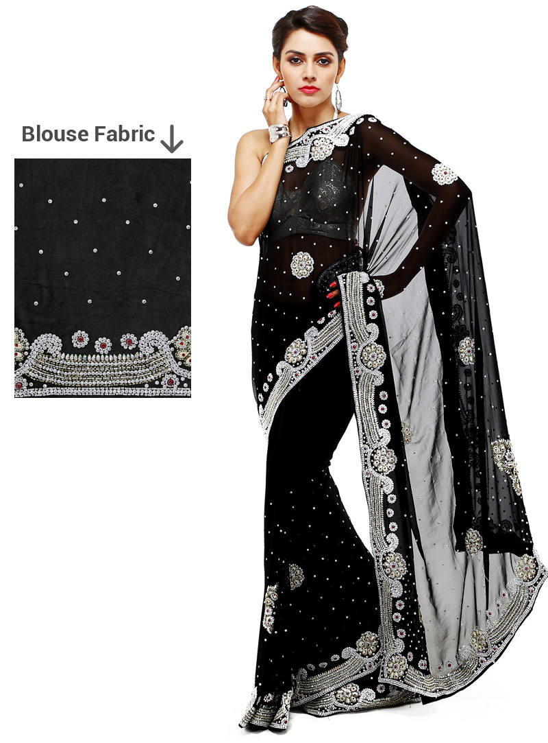 Black Georgette Saree With Blouse 88897