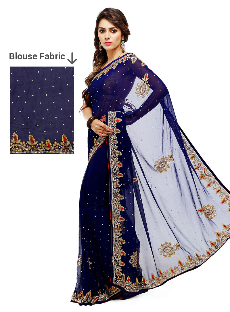 Navy Blue Georgette Festival Wear Saree 88870