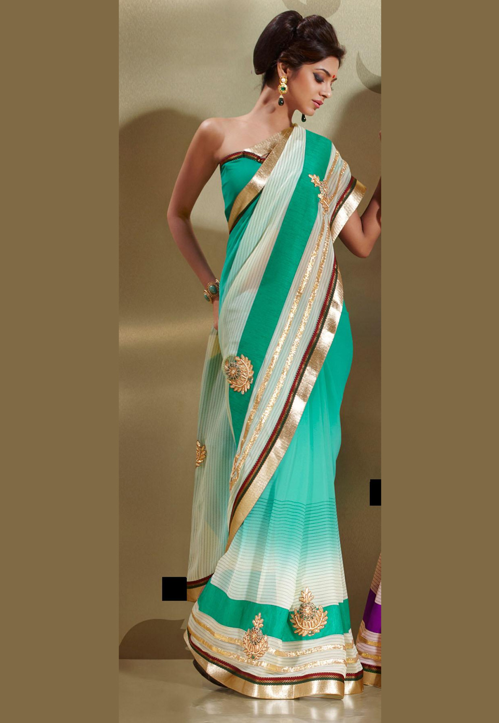 Turquoise Faux Georgette Saree 15948