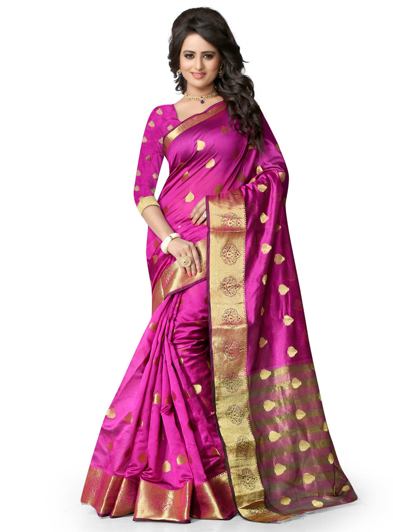 Magenta Art Silk Festival Wear Saree 121381
