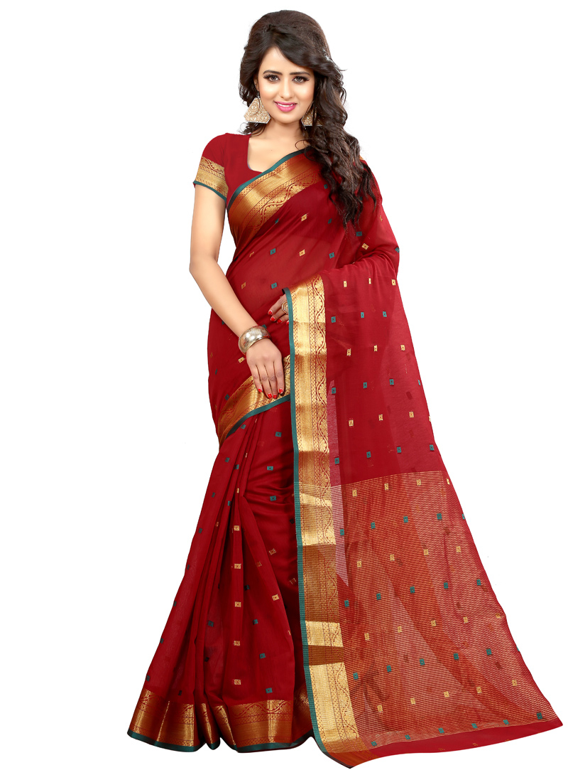 Red Art Silk Saree With Blouse 121388
