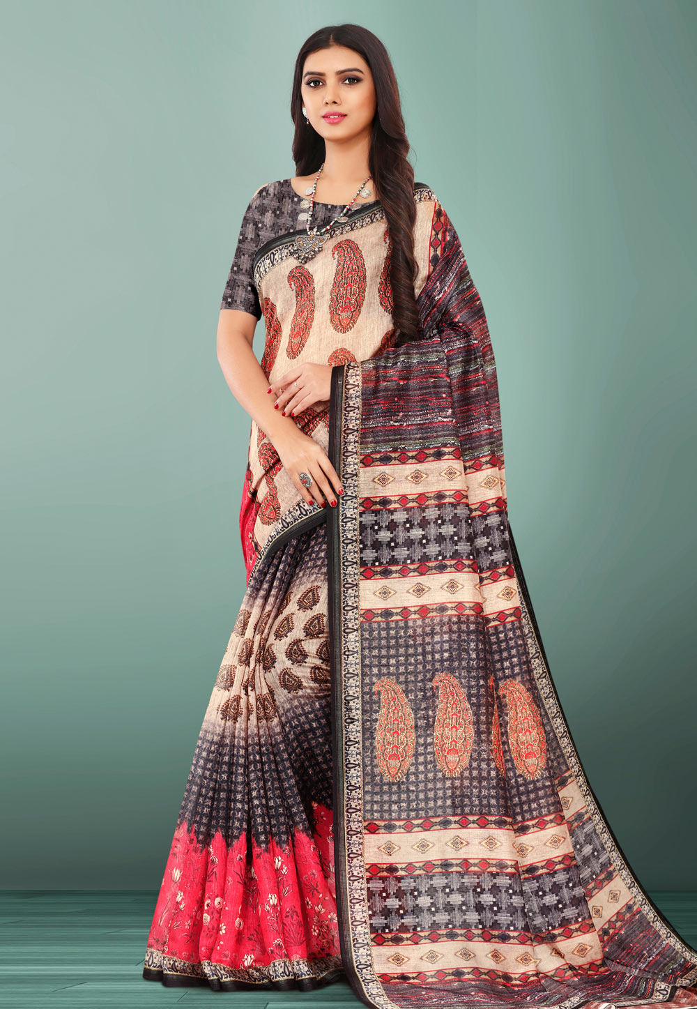 Cream Linen Printed Saree With Blouse 155095
