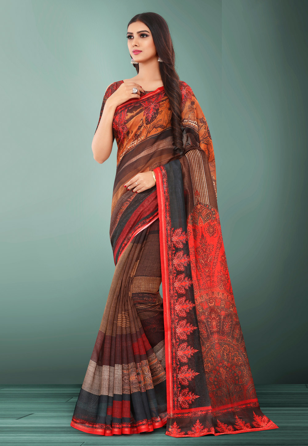 Brown Linen Printed Saree With Blouse 155099