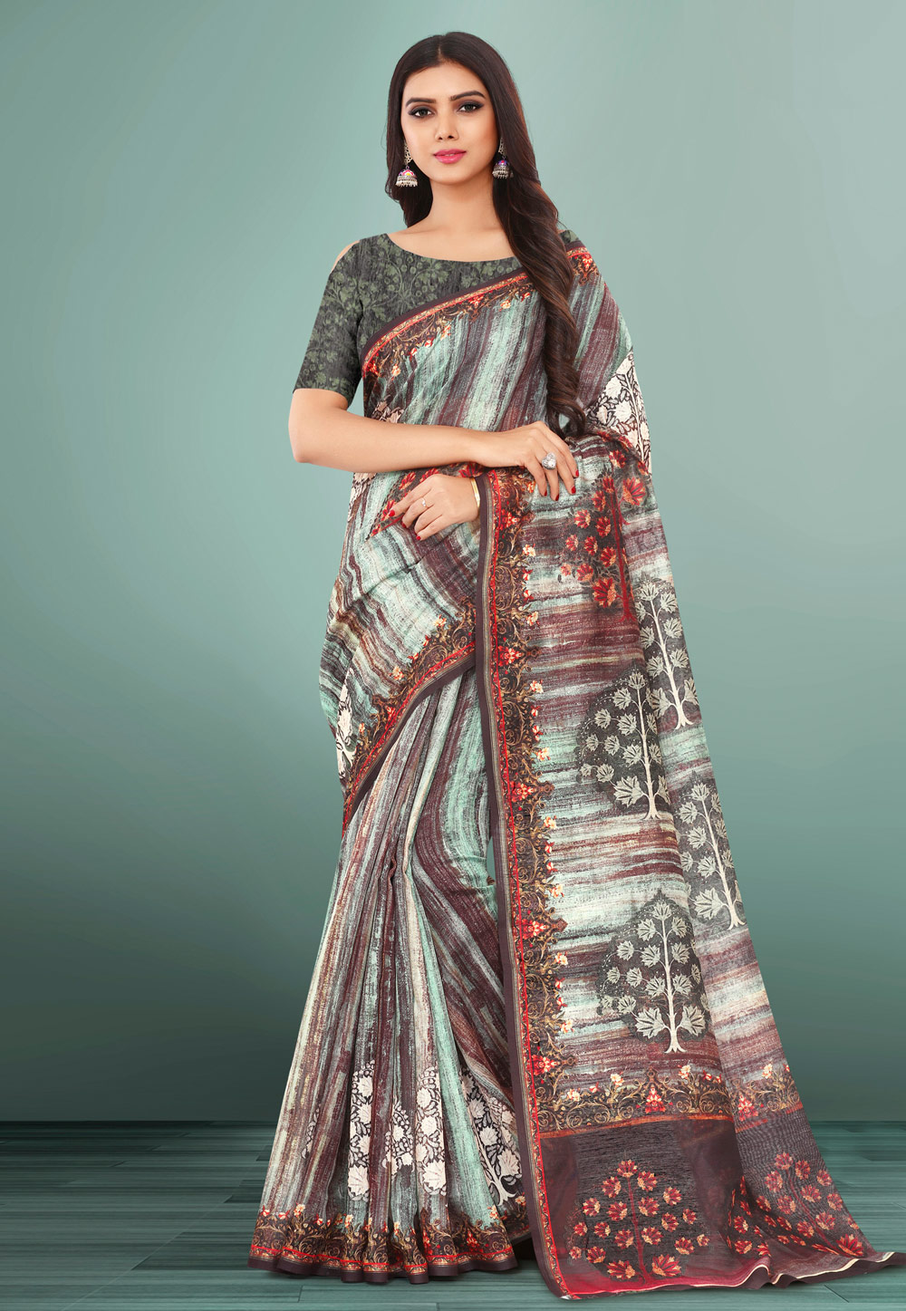 Brown Linen Printed Saree With Blouse 155101