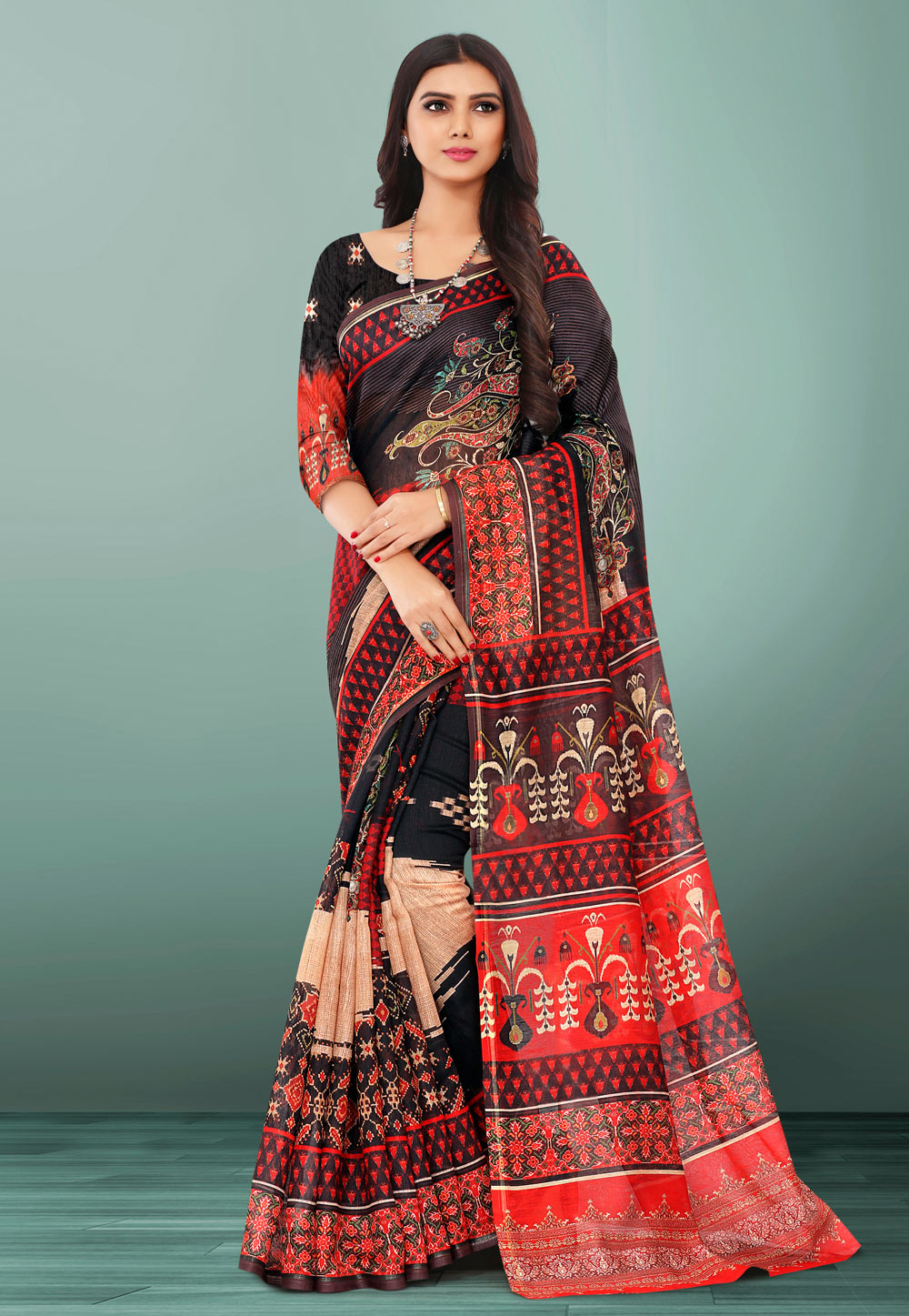Black Linen Printed Saree With Blouse 155103