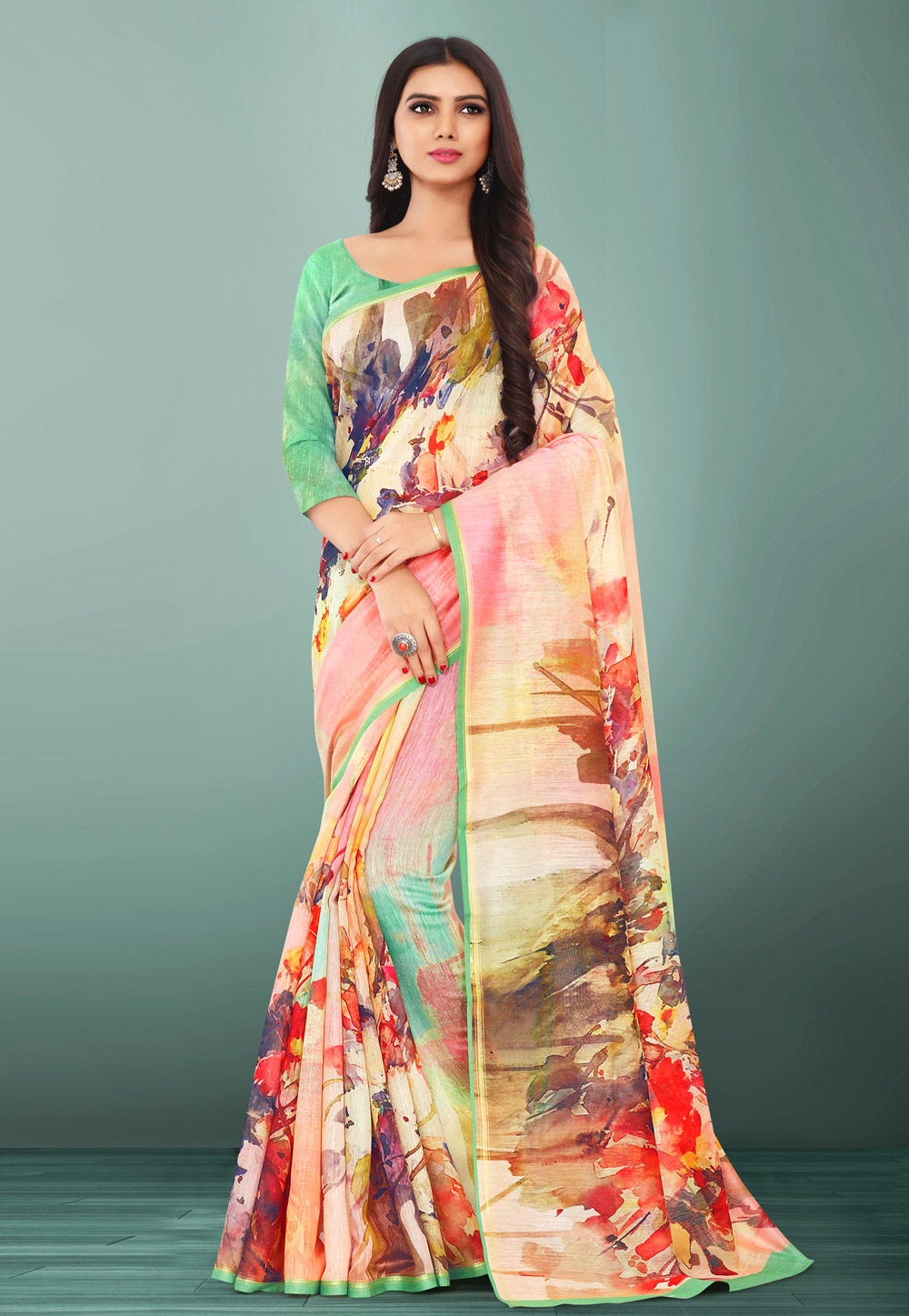 Beige Linen Printed Saree With Blouse 155105