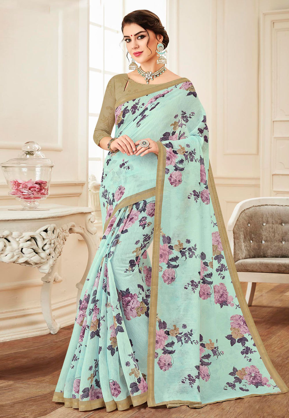 Aqua Linen Festival Wear Saree 155664