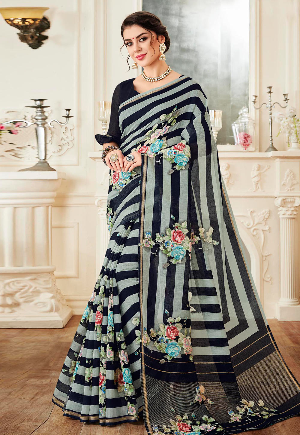 Black Linen Saree With Blouse 155669