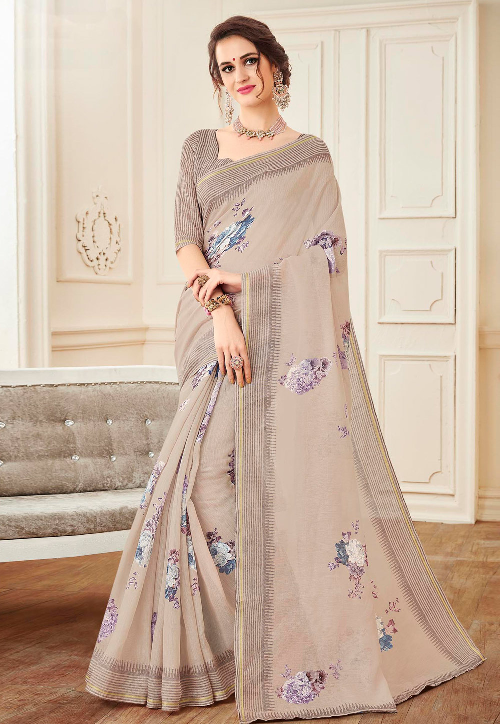 Beige Linen Saree With Blouse 155671