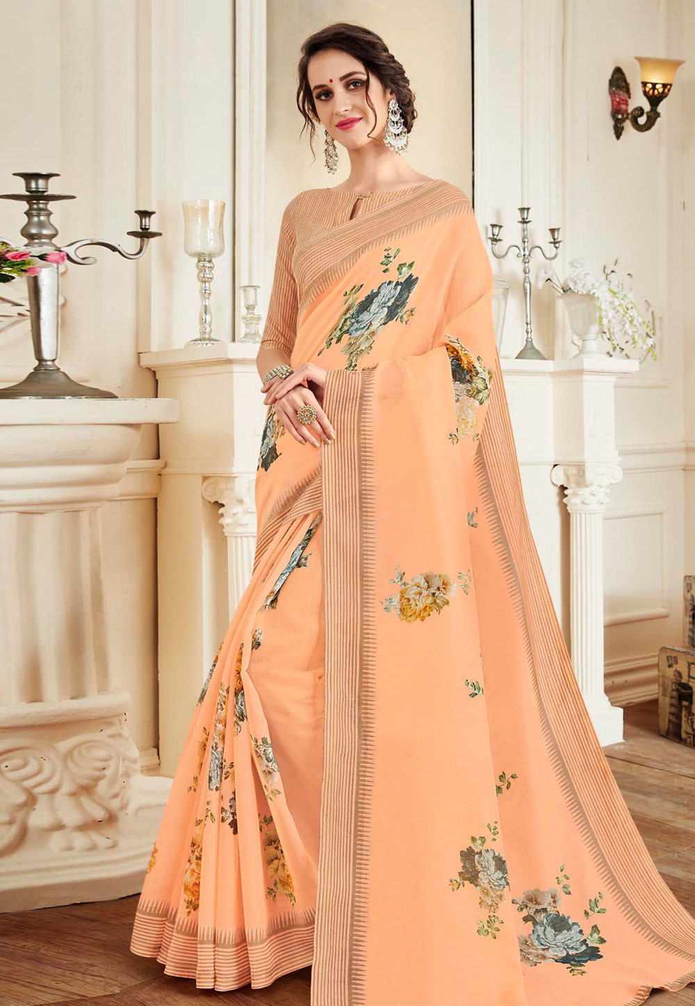 Peach Linen Saree With Blouse 155673