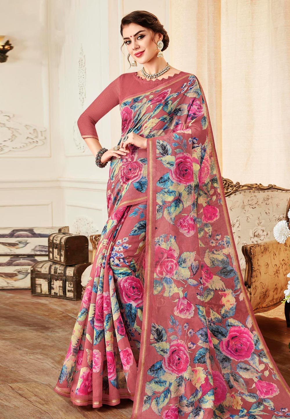Pink Linen Saree With Blouse 155675