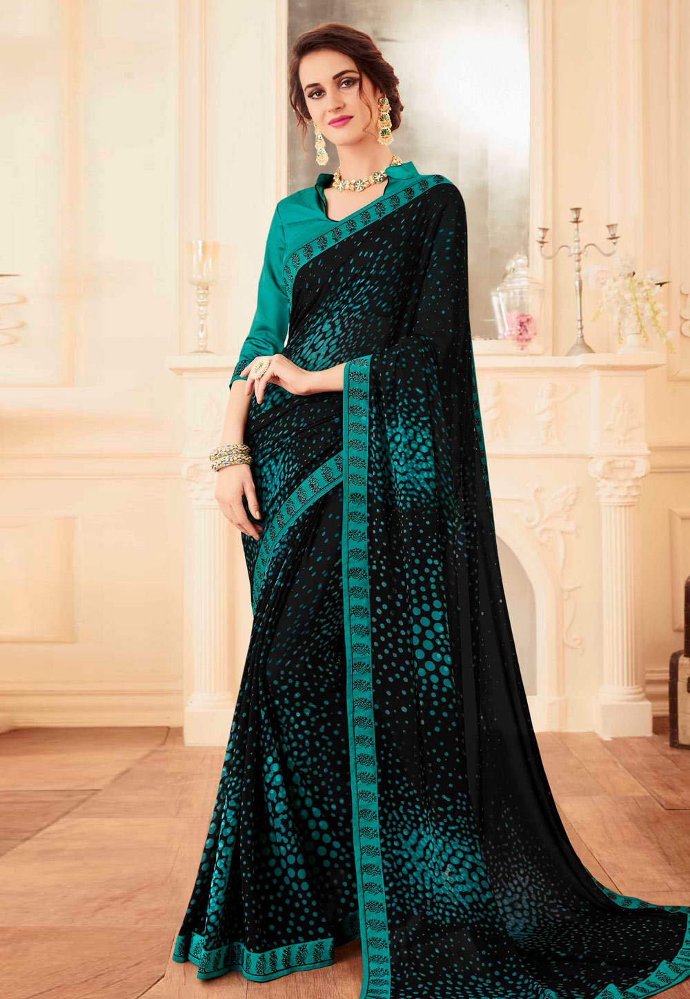 Black Faux Georgette Printed Saree With Blouse 155452