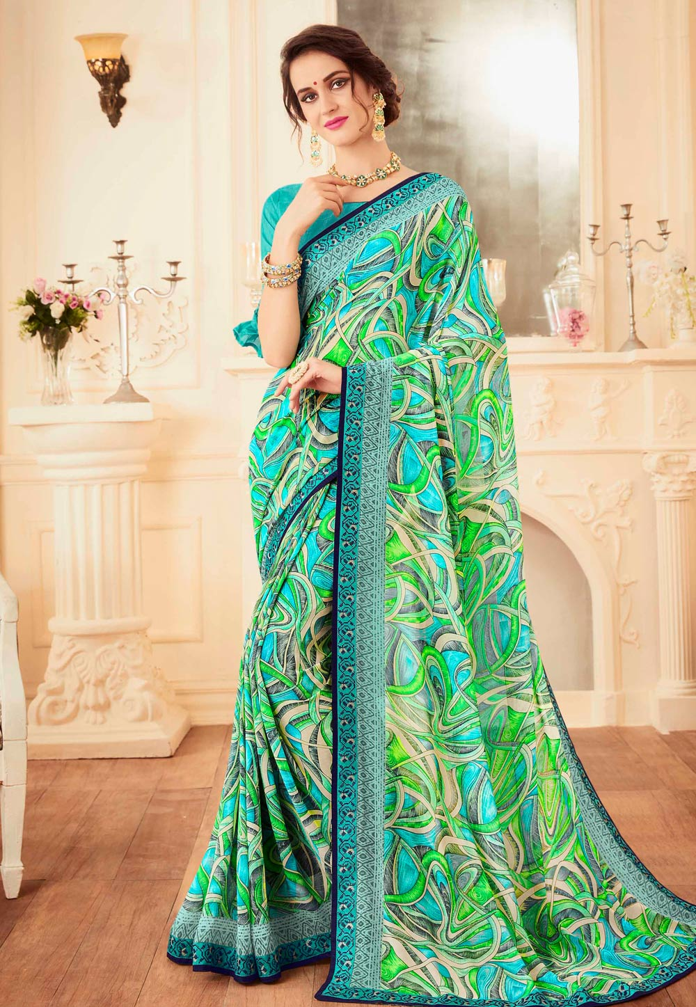 Green Faux Georgette Printed Saree With Blouse 155456