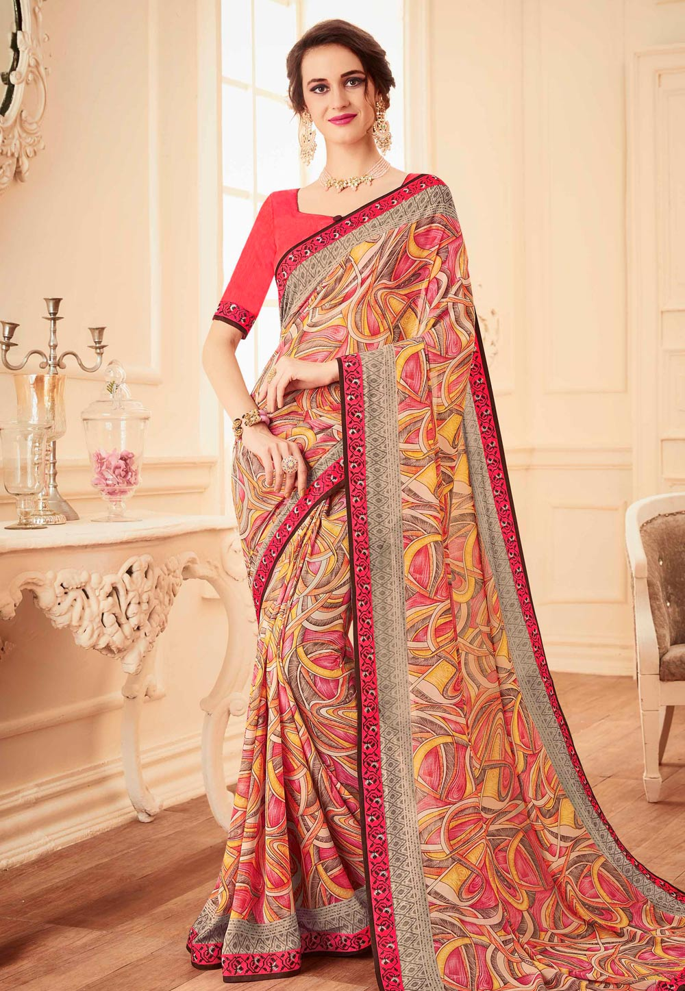 Yellow Faux Georgette Printed Festival Wear Saree 155457