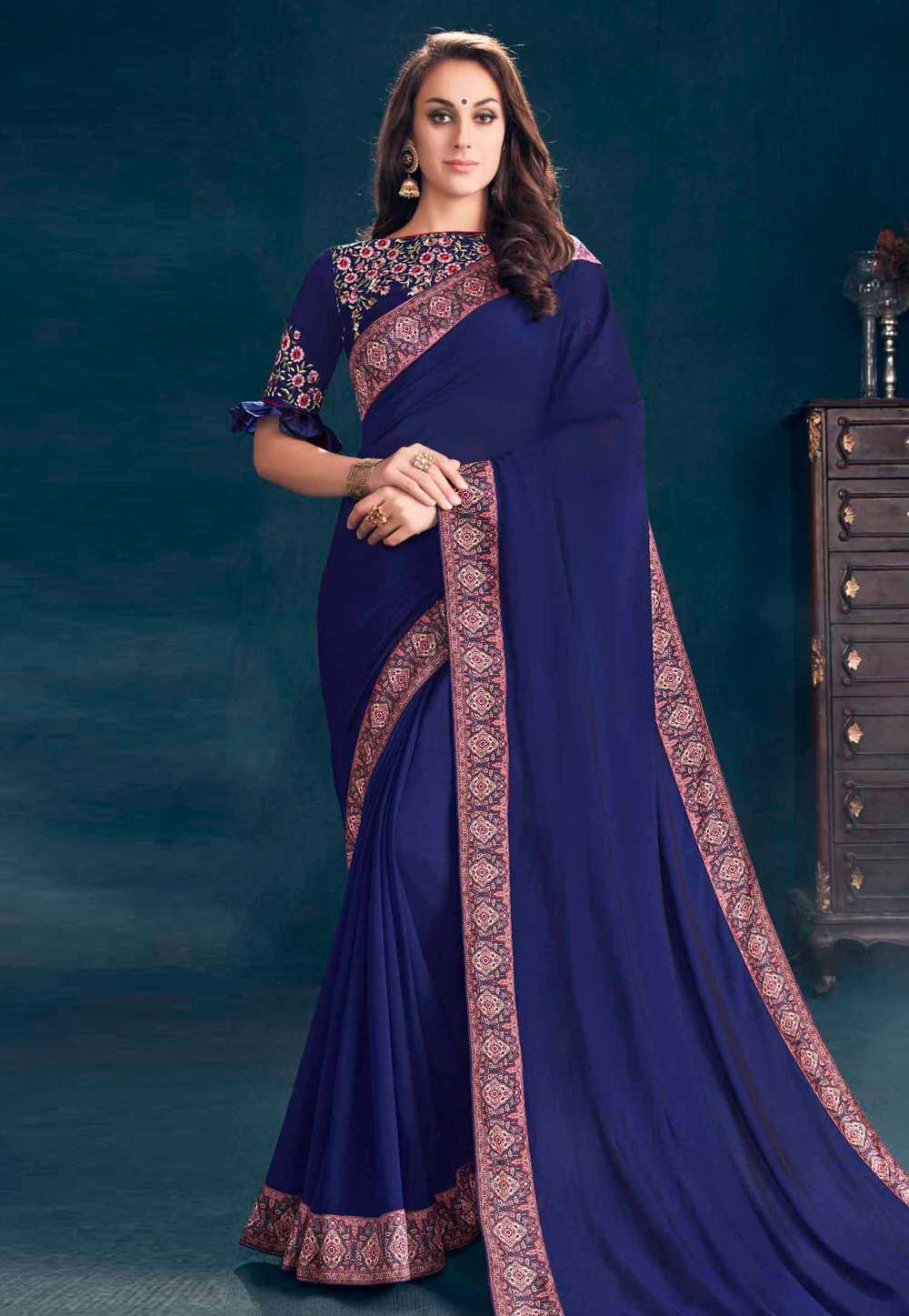 Navy Blue Georgette Saree With Blouse 155975
