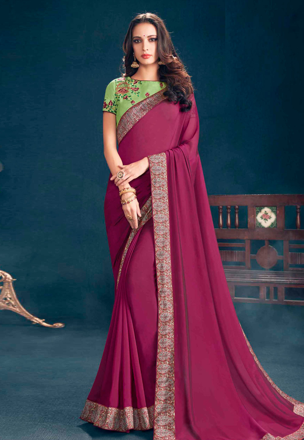 Purple Georgette Saree With Blouse 155977