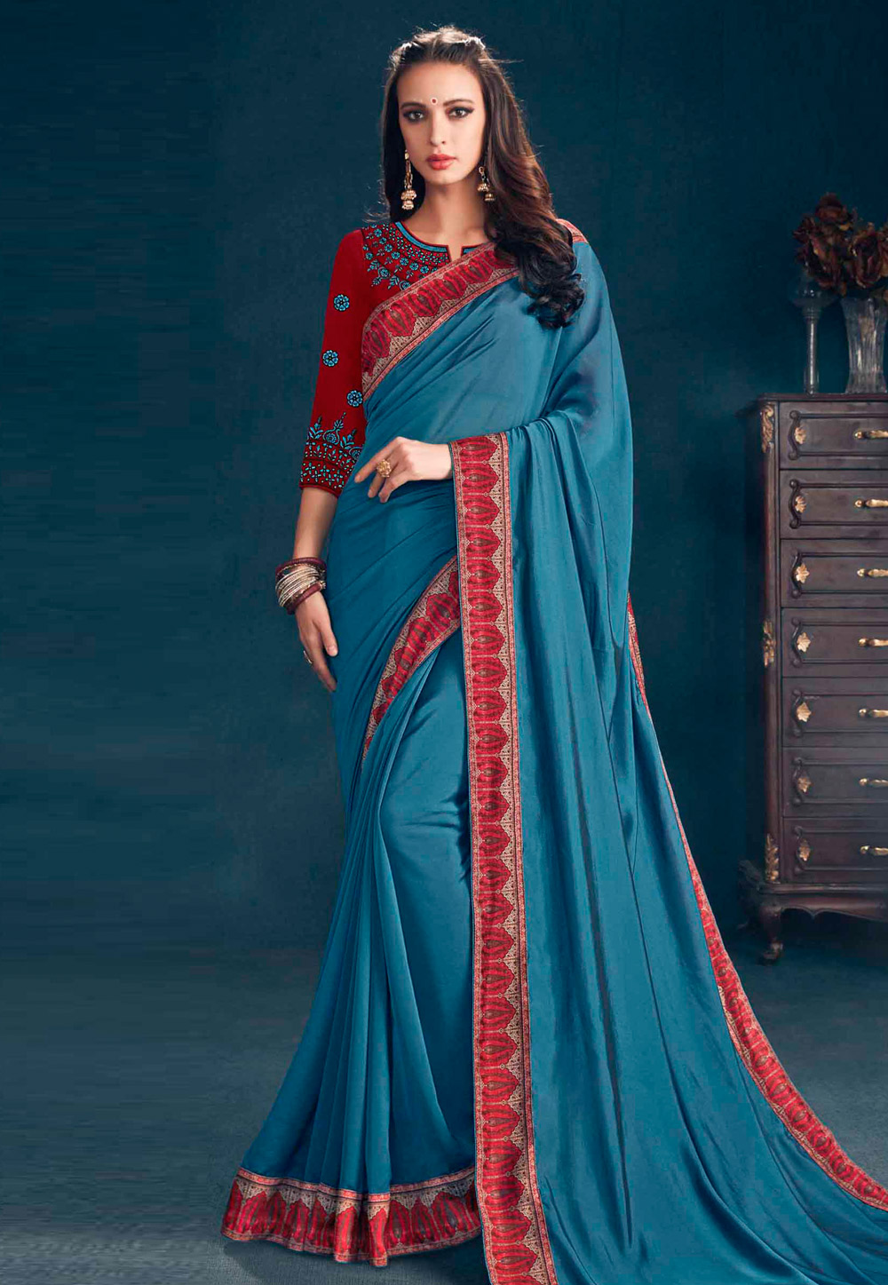 Light Blue Georgette Saree With Blouse 155979