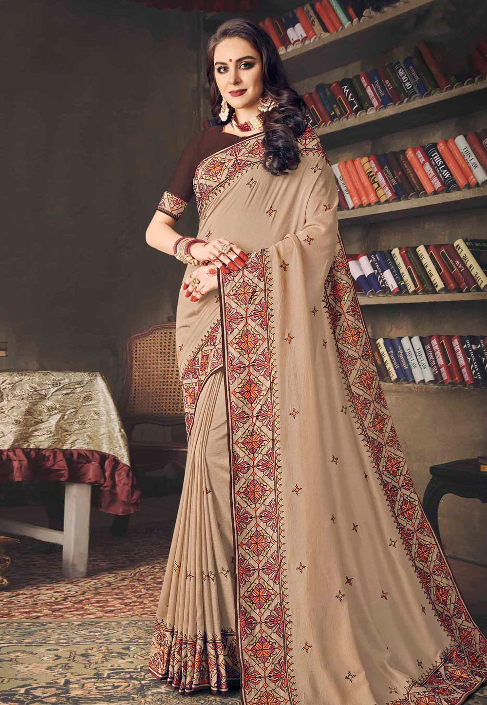 Beige Silk Saree With Blouse 155966