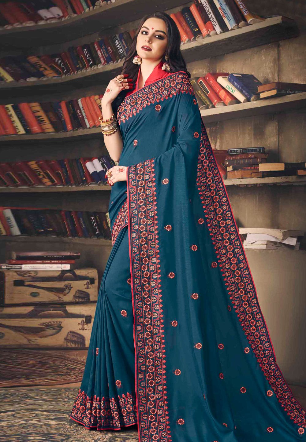 Blue Silk Festival Wear Saree 155967