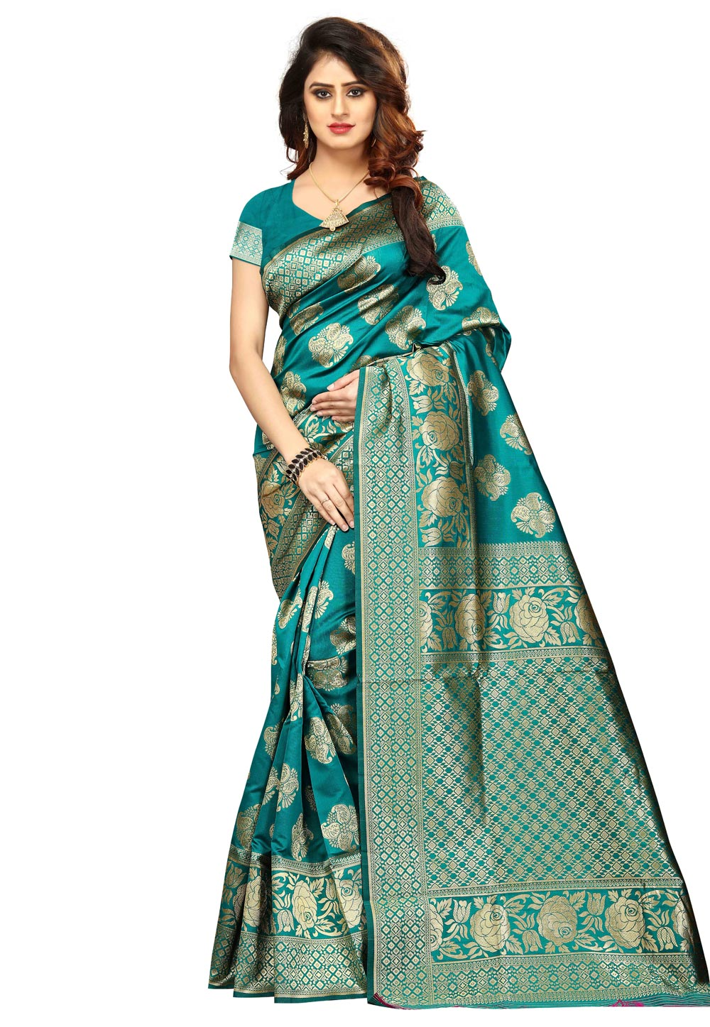 Turquoise Blue Banarasi Silk Saree With Blouse 156145