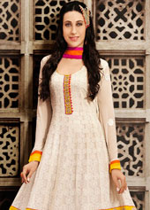 Karisma Kapoor Off White Georgette Bollywood Salwar Kameez 43466