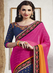 Magenta Georgette Party Wear Saree 43287