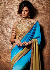 Aqua Shaded Satin Chiffon Party Wear Saree 42978
