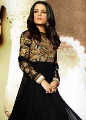 Celina Jaitly Black Royal Georgette Floor Length Anarkali Suit 43417