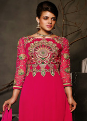 Pink Georgette Pakistani Style Suit 43420