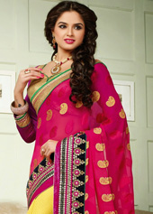 Deep Pink Viscose Georgette Wedding Saree 43800
