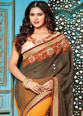 Gray Georgette Wedding Saree 43869