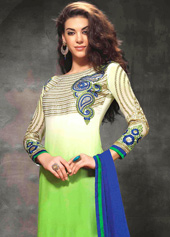 Off White Heavy Georgette Long Churidar Salwar Kameez 44047