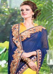 Navy Blue Georgette Embroidery Party Wear Saree 43033