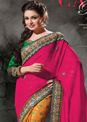 Magenta Fancy Georgette Half and Half Party Wear Saree 43355