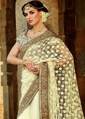 Off White Faux Georgette Wedding Saree 42933