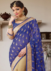 Blue Faux Georgette Wedding Saree 44102