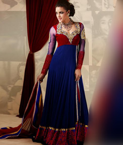 Red and Blue Embroidery Faux Georgette Floor Length Anarkali Suit 27023