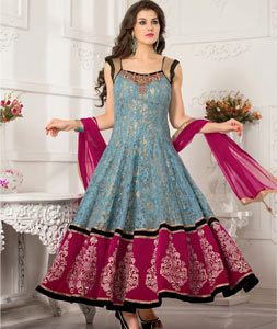 Gray Net Ankle Length Anarkali Salwar Kameez 43779