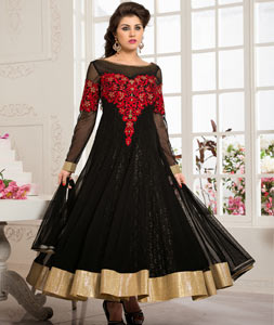 Black Net Ankle Length Anarkali Salwar Kameez 43780