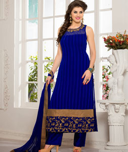 Royal Blue Faux Georgette Designer Salwar Kameez 43788