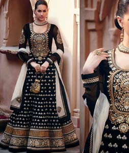 Black Faux Georgette Embroidered Pakistani Salwar Suit   33108