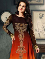 Ameesha Patel Brown and Orange Butta Work Bollywood Suit 39322